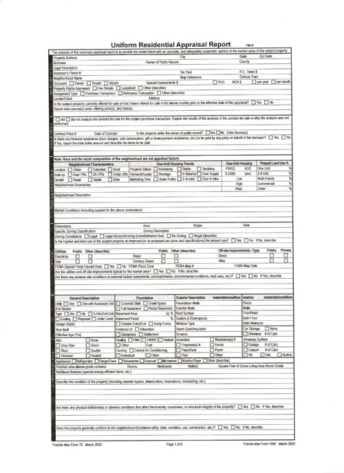 residential appraisal form