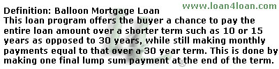 balloon mortgage loan