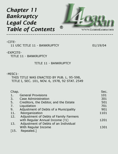 chapter 11 legal code