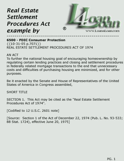 real estate settlement procedures act RESPA